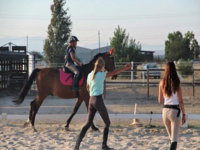 Group initiation horseback riding class S.S. Reyes