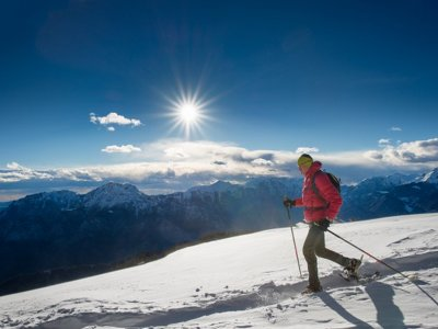 Snowshoeing route and building igloo in the Pyrenees