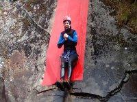 Slide into Laggan Canyon