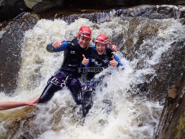 Having fun in waterfalls