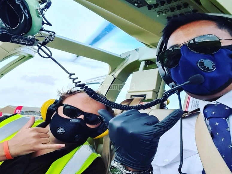 Helicopter crew and pilot