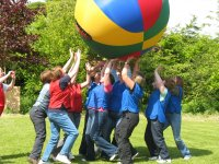 The Earth ball encourages teamwork.