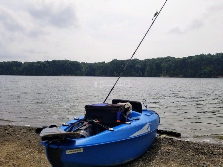 Kayak before departing