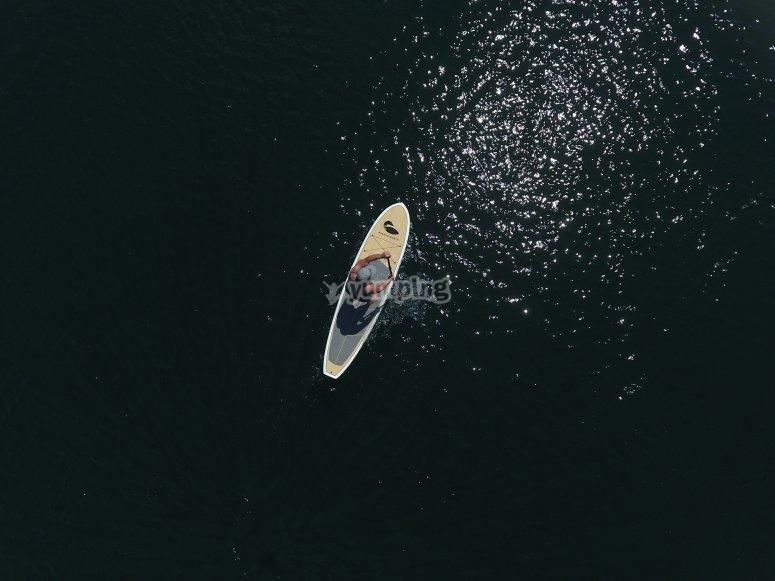 Paddleboarding alone