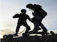 Mountain boarding at dusk