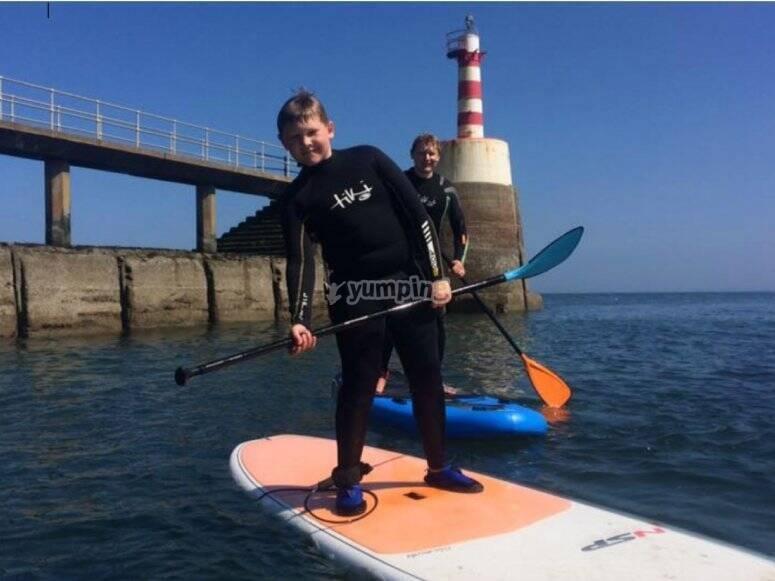 Paddle board pose