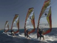 line of people windsurfing