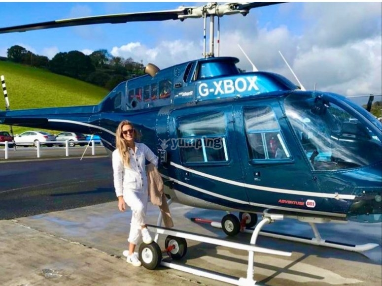 Posing with the helicopter
