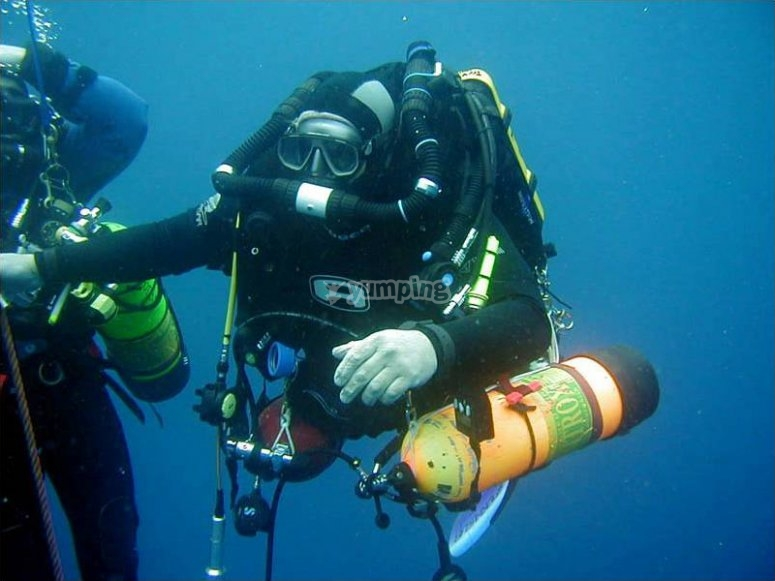 Get used to the complete tec diving rig