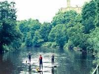 Stand up paddle boarding in the local Amble rivers