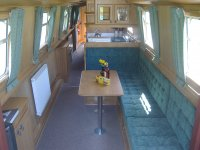 Canalboat galley and lounge