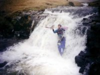 Paddling over a waterfall