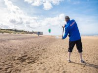 Practising kitesurfing