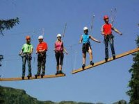 Take on our high ropes course at the top of the trees