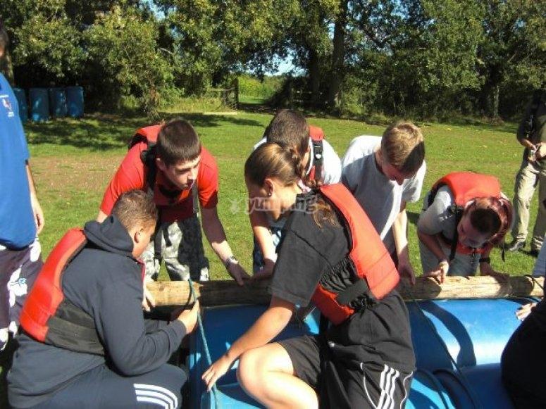 Raft builders at work