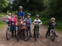 Kids on the mountain bikes