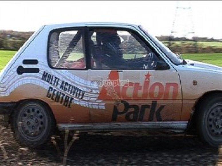 Muddy rally car