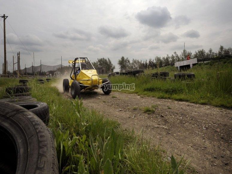 Speeding along the race track