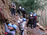 Or trying abseiling down natural rock