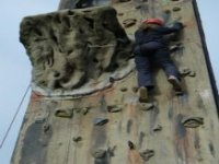 On the wall climbing