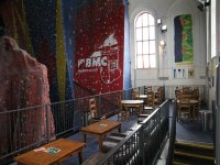 Our cafe, overlooking our climbing walls