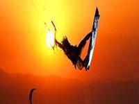 Fly through the air kitesurfing