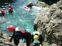 Pool jumping during coasteering