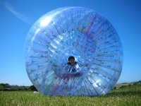Zorbing on a clear day