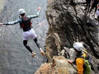 Exciting cliff jump