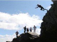 High cliff jump