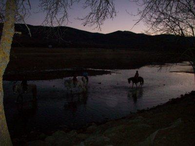 Moonlight horse riding, Lozoya Valley, Summer
