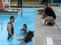 Students practising in the pool