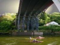 Paddling under the Iron Bridge