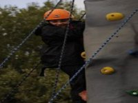 On the rock wall