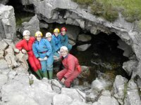 Getting ready to descend into the mouth of the cave