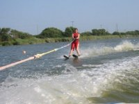 A beginner learning to water ski