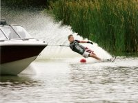 Water-skiing round an obstacle