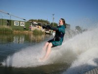 Water skiing in a straight line