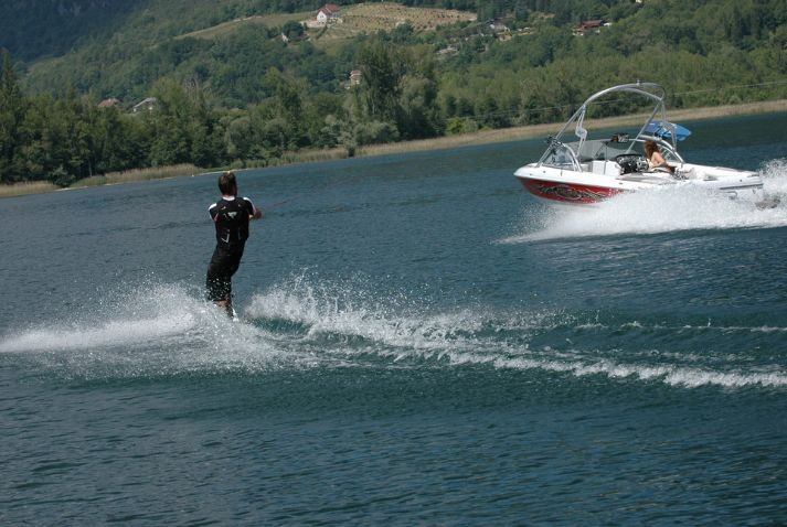 Water skiing on the lake